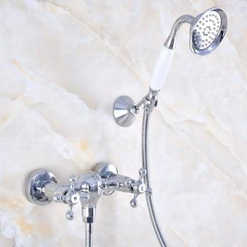 Wall Mount Polished Chrome Brass Bathroom Two Cross Handles Hand Shower Faucet Mixer Tap Set Telephone Shape Hand Spray ana770