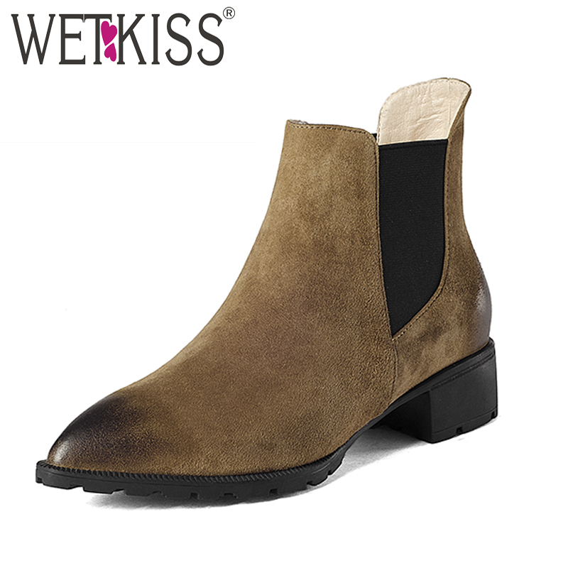 WETKISS New Style Cow Leather Boots Women Slip Pointed toe Ankle Boot Female Square Heels Chelsea Boots Winter Woman Shoes trusify 2017 oh attraction cow leather ankle zip short boots square toe med strange style european style boots