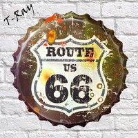 40CM Garage Route 66 US Retro Vintage Round Tin Sign Metal Beer Bottle Cap RD 05