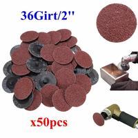 50pcs Set 36 Grit 2 Roll Lock Sanding Discs Type R Roloc Fits For Dremel Abrasive