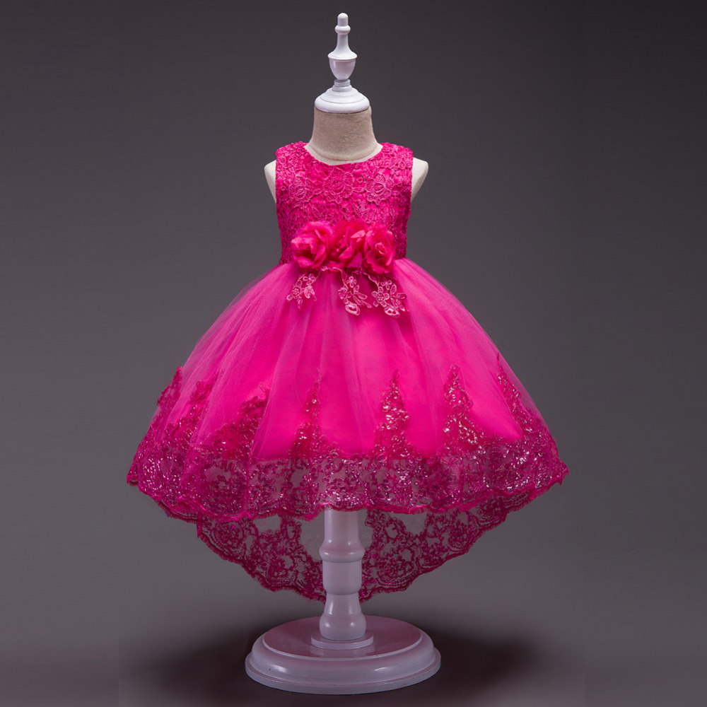 Elegant Baby Kids Bowknot Lace Flower Sequins Trailing Gown Dress Princess Girl Dress for Wedding Party tutu dress