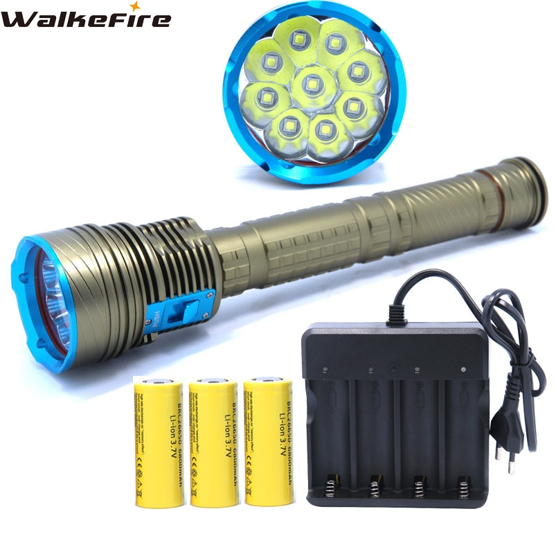 20000LM Underwater led flashlight 9*XM-L2 Diving lamp Torch Defensive waterproof Light Lantern with 3*26650 Battery & Charger new design waterproof 10000 lumens 7 x cree xm l2 led diving flashlight underwater 200m light lamp 3 26650 battery charger