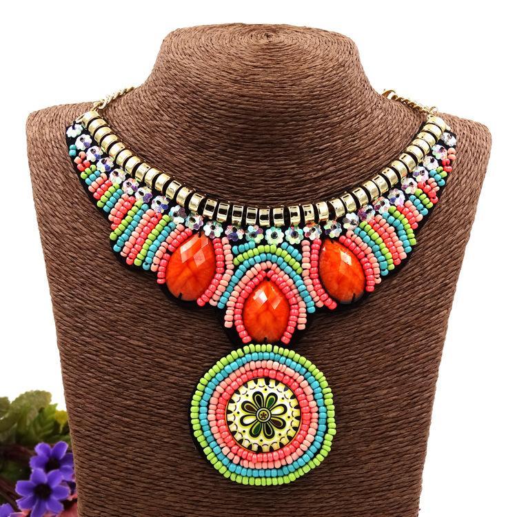 Vintage Bohemia Necklace Tribal Pendants Boho Jewelry Ethnic-Collar Handmade Statement