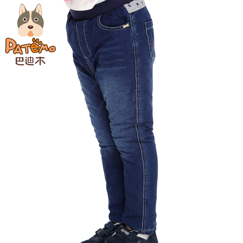 PATEMO Girls Jeans Winter Children Jeans Denim Pants Kids Thick Trousers Cotton Fabric Girls Clothes Elastic Waist Warm Jeans free shipping 2016 spring cartoon children jeans boys and girls pants embroidered denim trousers korean children jeans wa05