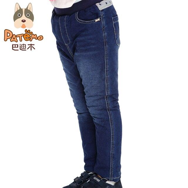 5ababed5b5a Patemo джинсы для девочек зимние детские Джинсы джинсовые штаны Дети  толстые Мотобрюки хлопок Ткань Обувь