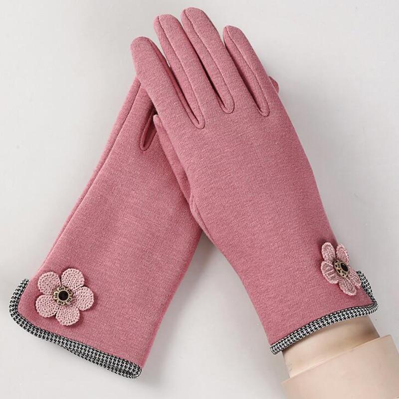 Female Winter Warm Outdoor Sports Wrist Plus Cashmere Cotton Fashion Flowers Gloves Women Full Finger Touch Screen Gloves 13B