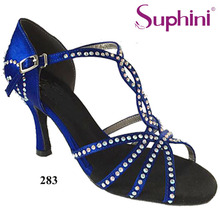 Free Shipping Suphini Brand Blue Satin Latin dancing shoes Women's Rhinestone shoes Salsa Party Latin Dance Shoes