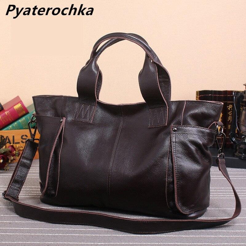 Pyaterochka Vintage Handbags Women Genuine Leather Shoulder Bags Luxury Business Casual Totes High Quality Large Leather Handbag