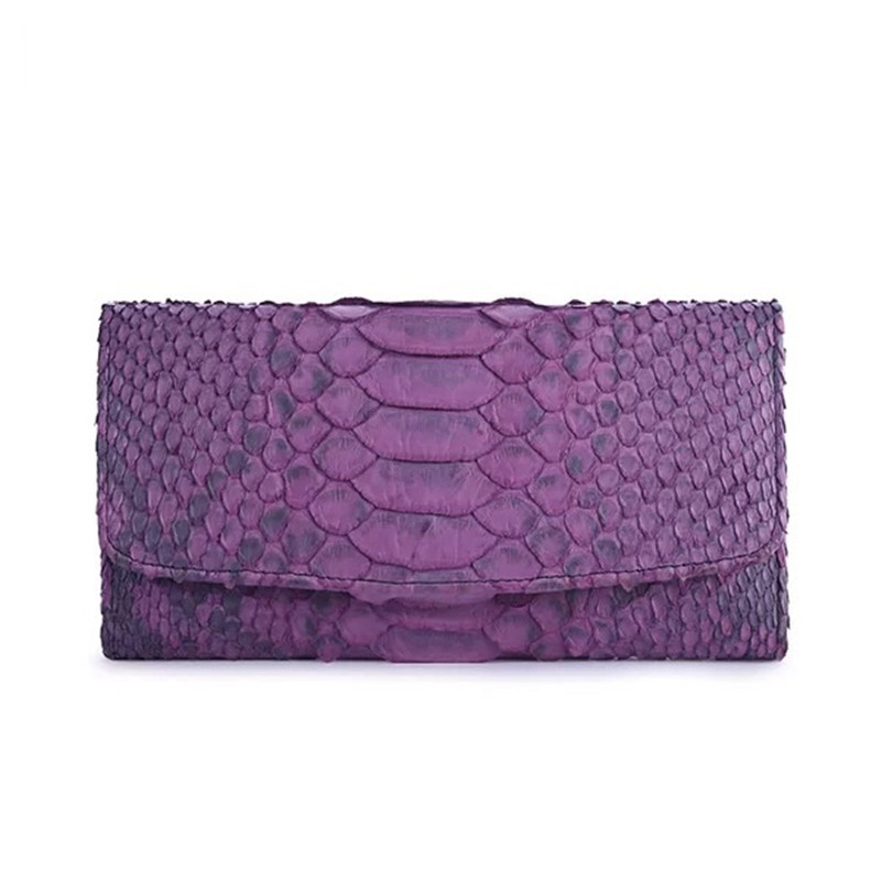 Luxury Style Genuine Python Leather Female Large Card Holders Women s Purple Trifold Wallet Exotic Snakeskin