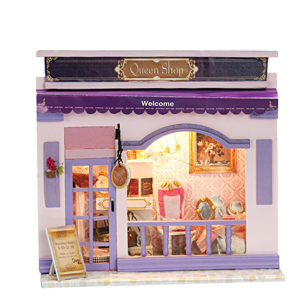 DIY Miniature Room Wooden Doll House Queen Shop with Furniture LED Lights Dollhouse Toys for Children