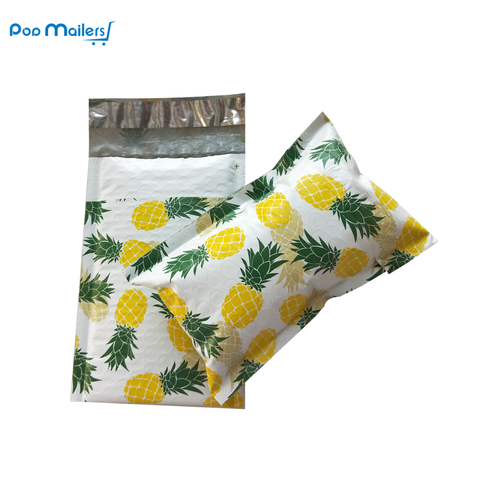#000 120x180 Mm/4x7 Inch 10pcs Pineapple Fruit Design Poly Bubble Mailers Padded Envelopes Boutique Custom Bags