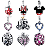 100 Authentic 925 Sterling Silver Mickey Shape Charm Beads Fit Pandora Charm Bracelet DIY Original Silver