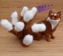 simulation The nine-tailed fox toy resin&fur brown fox doll gift about 28x26cm