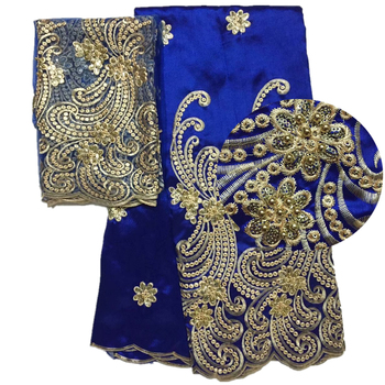 Beaded george fabric latest 2018 Sequin george fabric royal blue George wrappers nigerian George with french lace fabrics фото