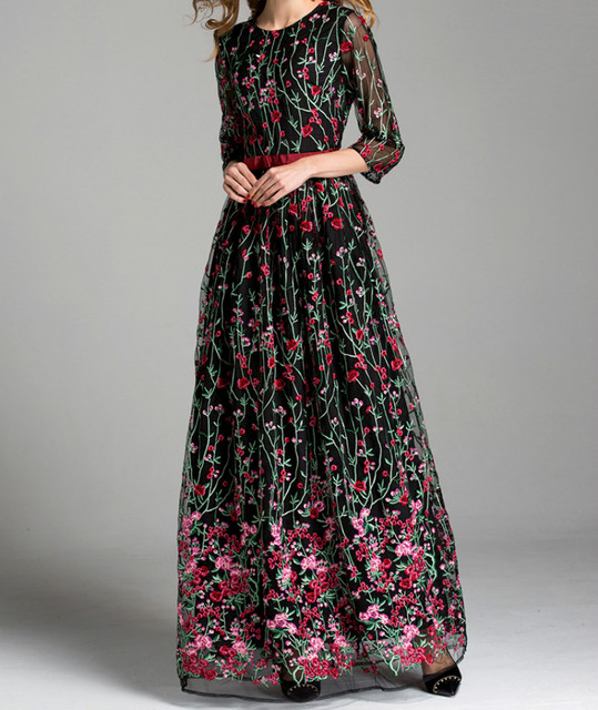 flowers embroidery luxury runway plus size dress half sleeves 2017