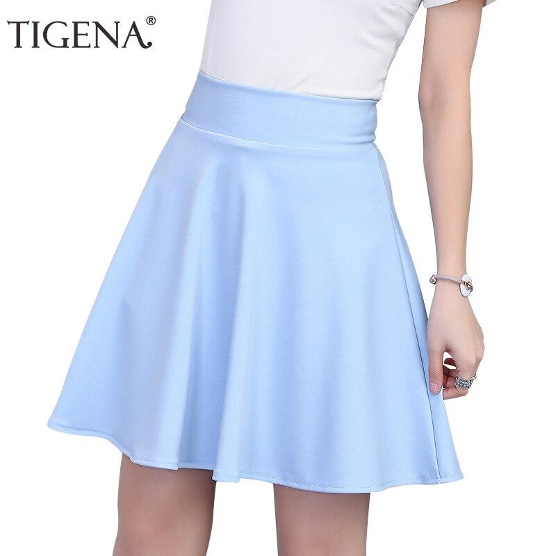 Image 3 - TIGENA Womens Skirt 2019 Summer High Waist Pleated Short Skirt For Women Mini Sun School Tutu Skirt Female Black White Pink Blue-in Skirts from Women's Clothing