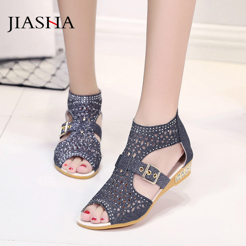 Sandals Women Rome-Shoes Rhinestone Female Fish-Mouth Hollow High-Help Zipper with Sapato