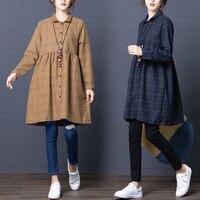 Winter dress women 2018 new fashion long sleeve warm soft plaid lady dress khaki/navy blue vestidos invierno