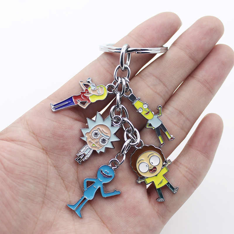 Rick and Morty Anime Metal Keychain Rick Sanchez and Morty Smith 3D Colorful Printed W/Cosplay Accessories for Gift Colletion