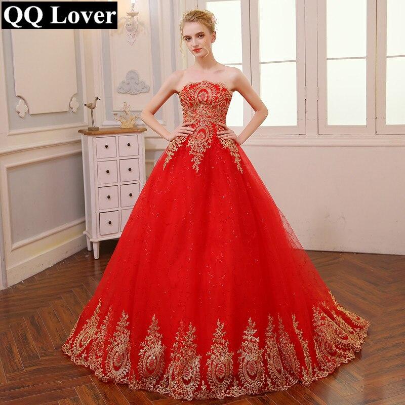 QQ Liebhaber 2018 Roten Hochzeitskleid Lange Zug Plus Größe Vintage ...