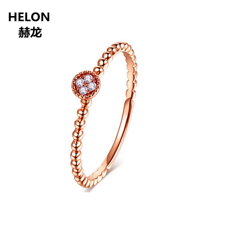 Solid 14k Rose Gold Natural Diamonds Engagement Ring Women Millgrain Wedding Anniversary Ring Fine Jewelry Elegant TrendySolid 14k Rose Gold Natural Diamonds Engagement Ring Women Millgrain Wedding Anniversary Ring Fine Jewelry Elegant Trendy