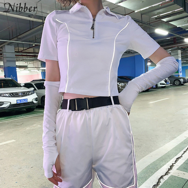 Nibber fashion Reflective cotton whitr black short sleeve tops womens T-shirts summer high street casual Active wear tee shirts