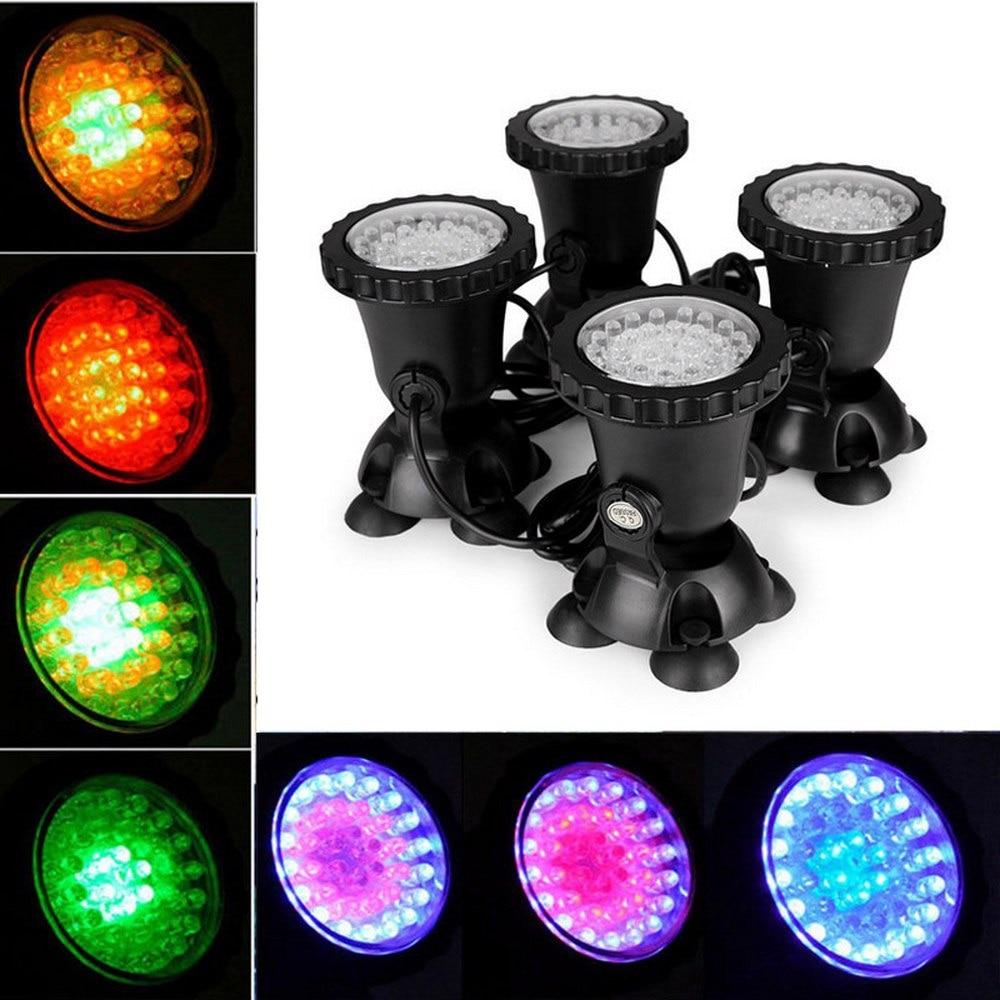 4pcs/set IP68 RGB 36 LED Underwater Spotlight Swimming Pool Light Underwater Lamp For Fountains Pond Water Garden Aquarium
