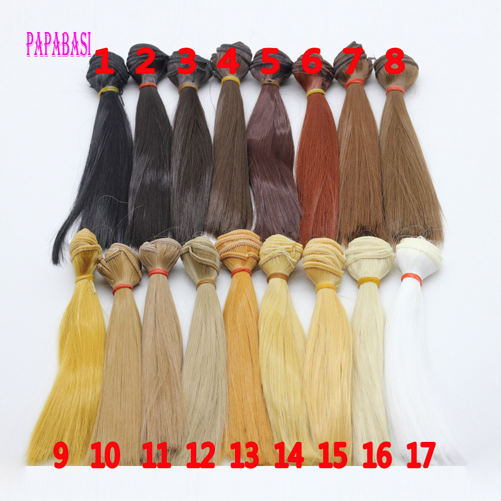 1pcs 20cm*100CM doll Wigs/hair refires bjd hair black gold brown coffee khaki white straight wig hair for 1/3 1/4 BJD diy