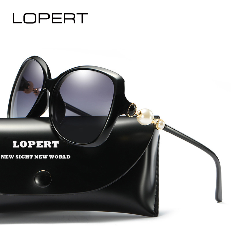 LOPERT Fashion Pearl Polarized Solglasögon Kvinnor Luxury Glasses Brand Designer Vintage Elegant Solglasögon Sol UV400