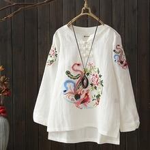 Женская блузка элегантный Топ для женщин весна вышитые традиционные Китайская рубашка Крестьянская блузка длинная рубашка Женский AA4614