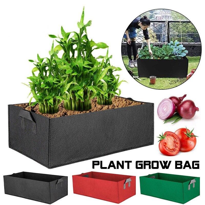 Large Rectangular Vegetable Grow Bags Garden Nursery Planting Groot Flower Pot Anti-Corrosion Felt Non-Woven Planters Bag(China)