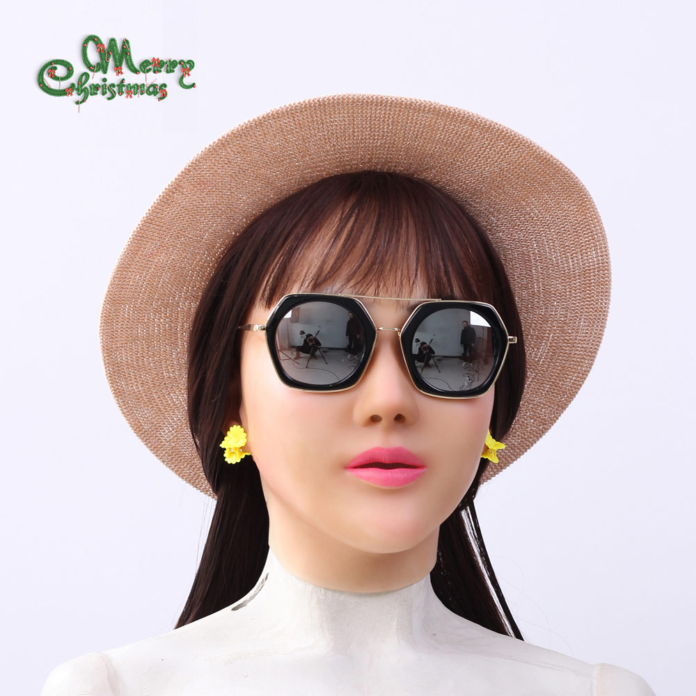 YR-H-Angela di Alta qualità masquerade per l'uomo, crossdresser silicone femminile headwear, realistico dea viso per halloween Femminile