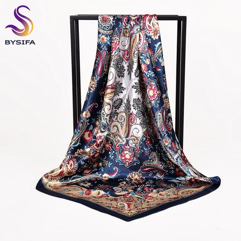 [BYSIFA] Women Rose Silk Scarf Shawl Spring Autumn Large Orange Green Square Scarves Wraps New Design Ladies Head Scarf Cape