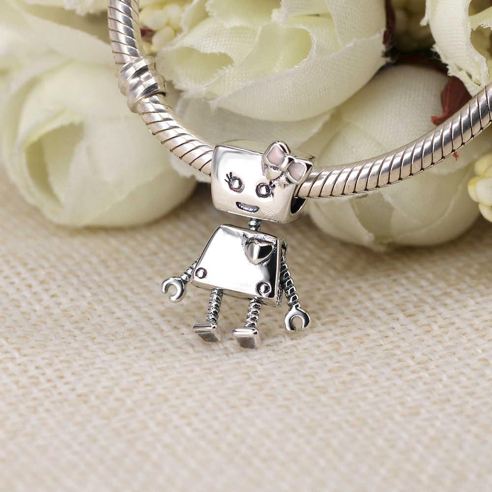 f4186f693 ... 925 Sterling Silver Bead Pink Enamel Power Love Heart Robot Charm Fit  Original Pandora Bracelets DIY ...