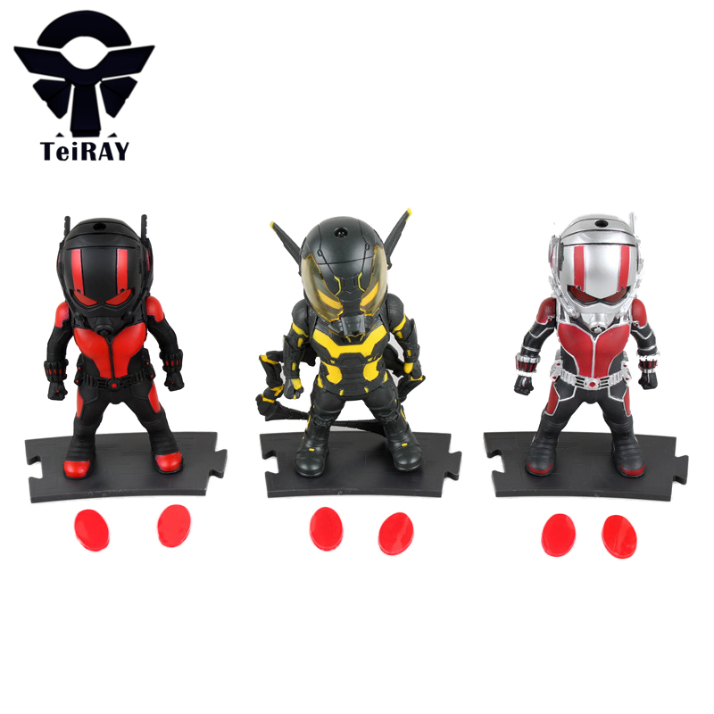 3pcs Ant Man Marvel Super heroes Q Version Flashing Ant man minifigures Figma anime Squinkies pvc figures kids Birthday toys 4 фигурка ant man ant man yellow jacket pop marvel