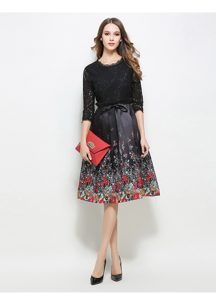 Europe fashion 2017 Spring new Slim Lace Patchwork dresses women Elegant half sleeve Floral Print Party Work OL dress vestidos 2