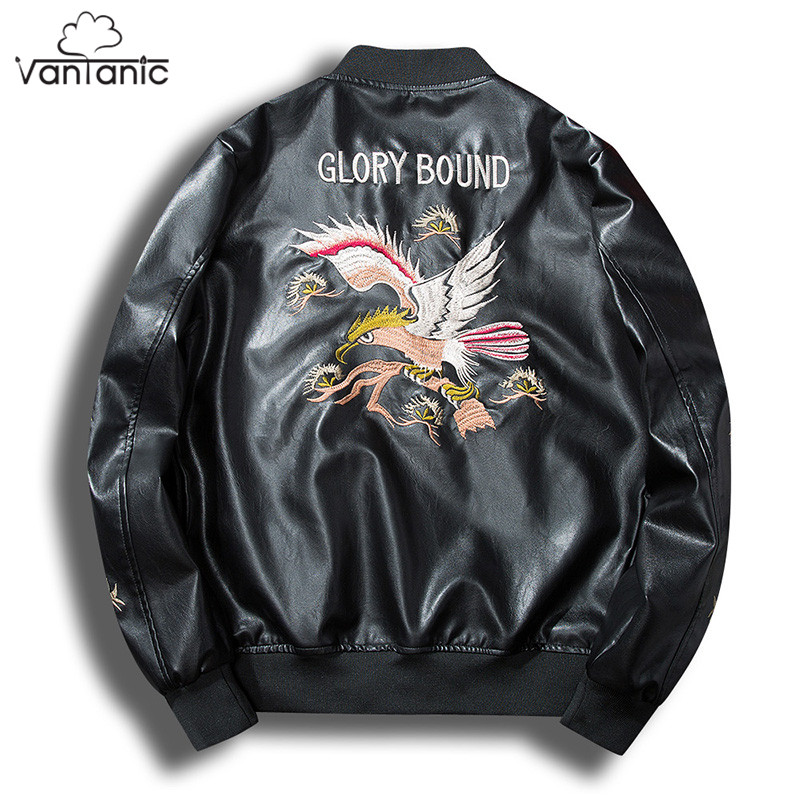 Vantanic Faux Leather Coat jaqueta de couro masculino motorcycle jacket Men PU Leather Jacket Male Outerwear Embroidery JTC39PU