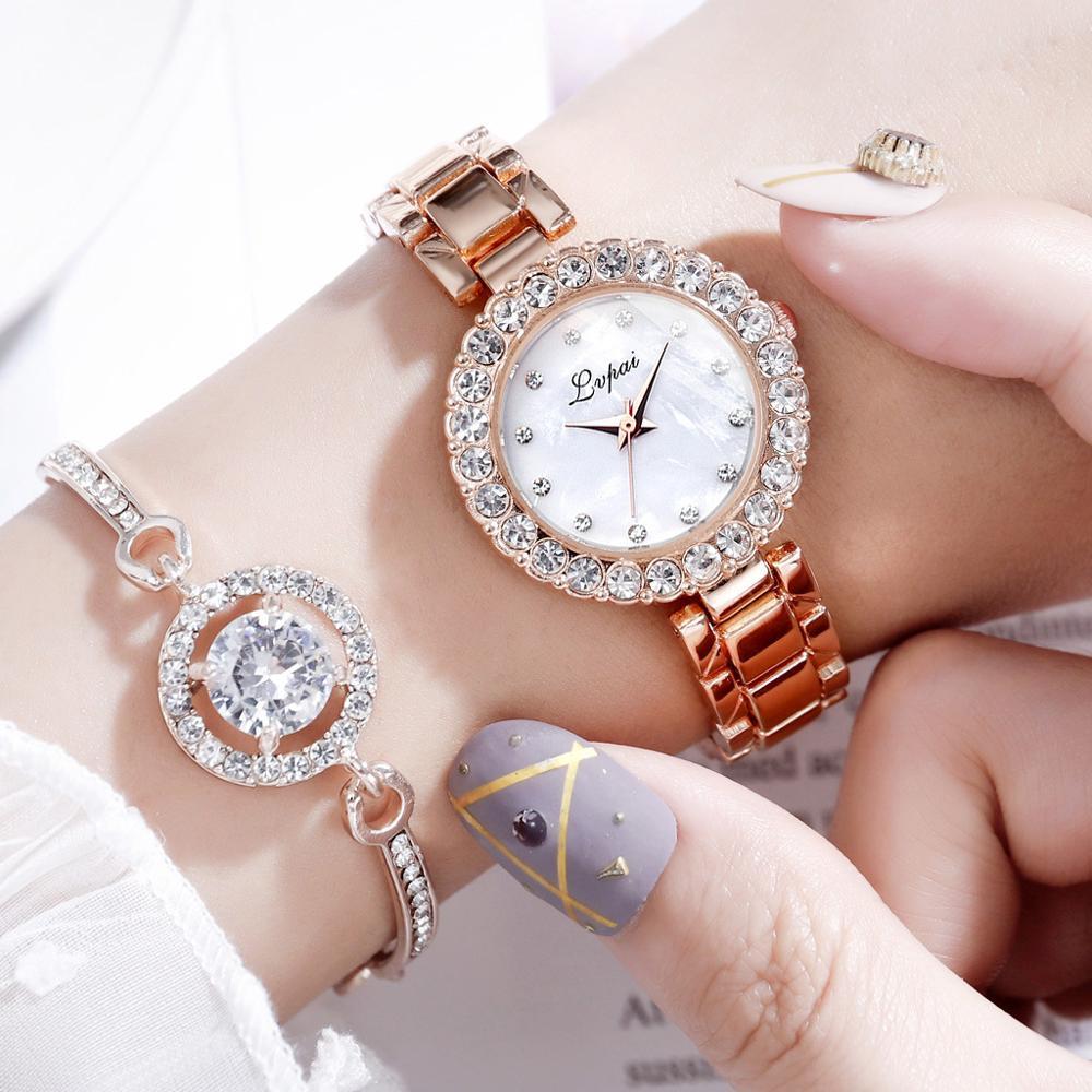 New 2019 Women Crystal Watches Jewelry Luxury Diamond Rose Gold Steel Belt Watch Fashion Quartz Watch Bracelet Set For Lady Gift