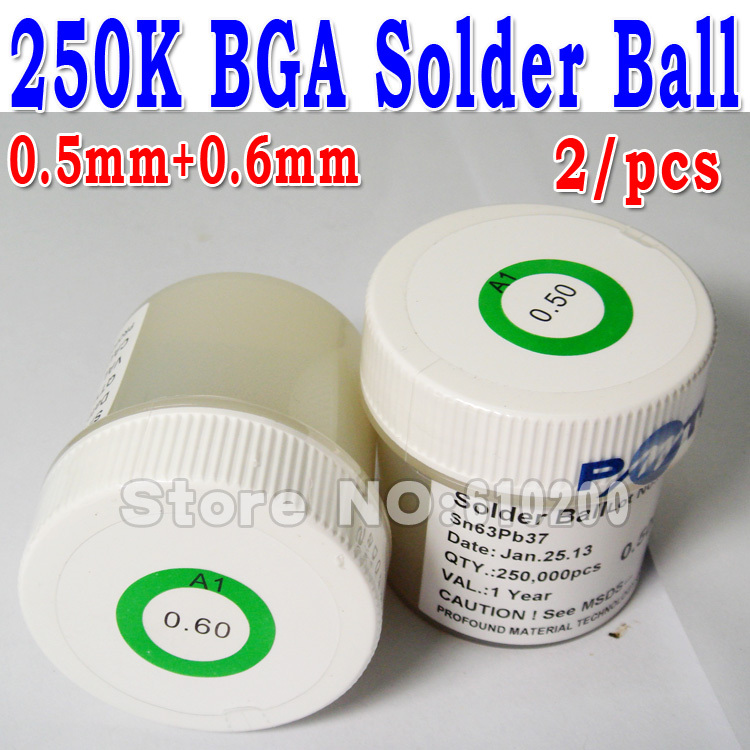цены  Free Shipping 2/pcs Lower prices Bag bottle BGA Leaded solder ball pewter beads 0.6mm+0.5mm 250,000 bga solder balls