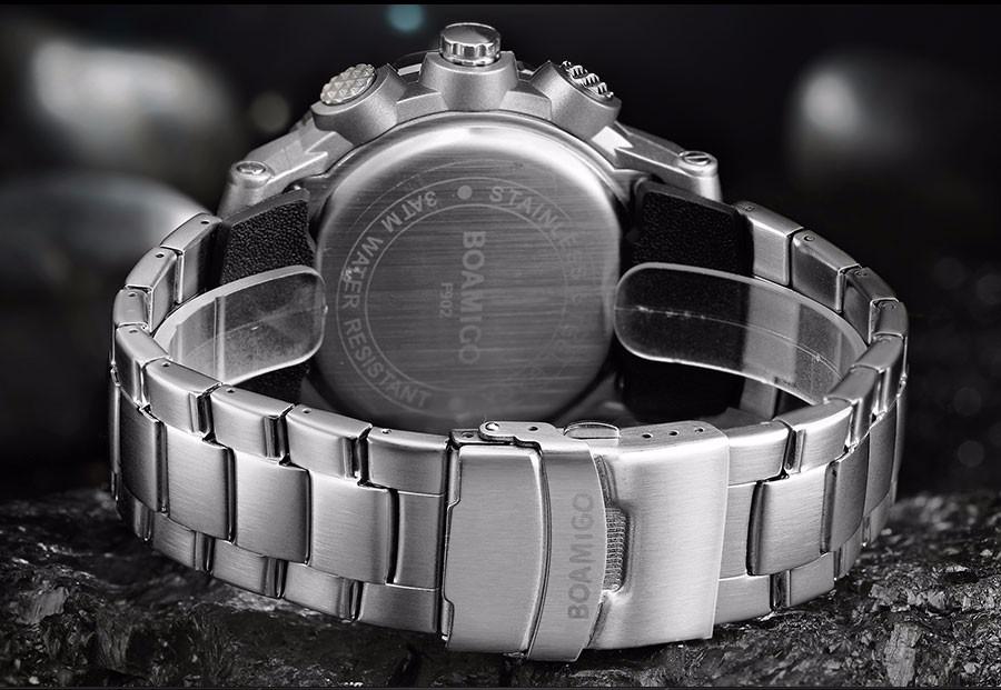 BOAMIGO Fashion Sport Man Watches Stainless Steel LED Digital Watch Analog Quartz Movement Waterproof Dual Display Wristwatches (12)