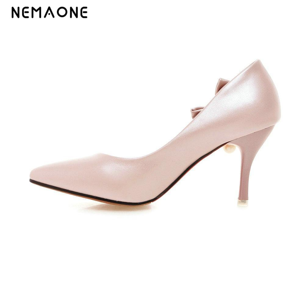 NEMAONE Women Pumps 2017 Spring New Fashion Women Shoes Pointed High Heels Shoes Fashion Thin Heels Pearl Wedding Shoes Red Pink 2016 spring and summer free shipping red new fashion design shoes african women print rt 3