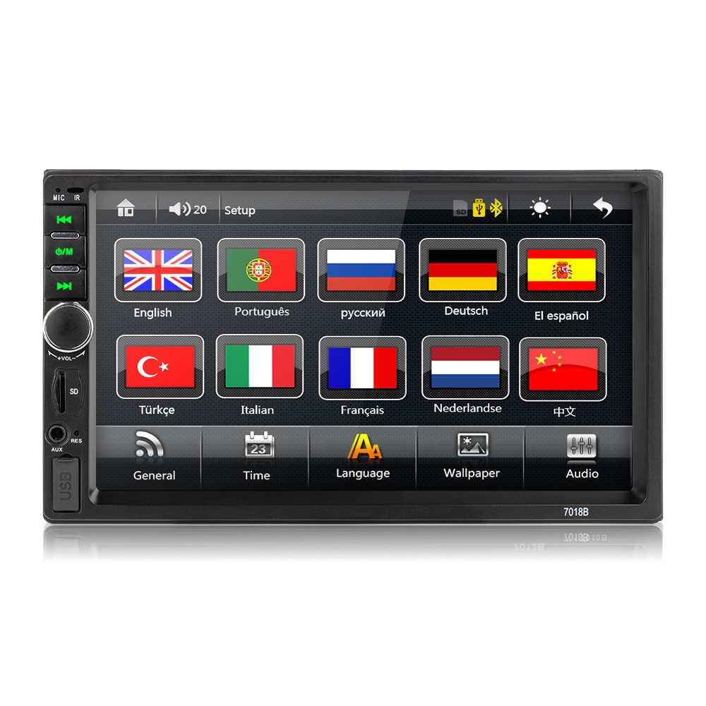 2 din カーラジオミラーリンクアンドロイド 9 Autoradio マルチメディアプレーヤー 7 ''HD タッチスクリーンの Bluetooth の Usb FM カメラ AUX 7010B ラジオ