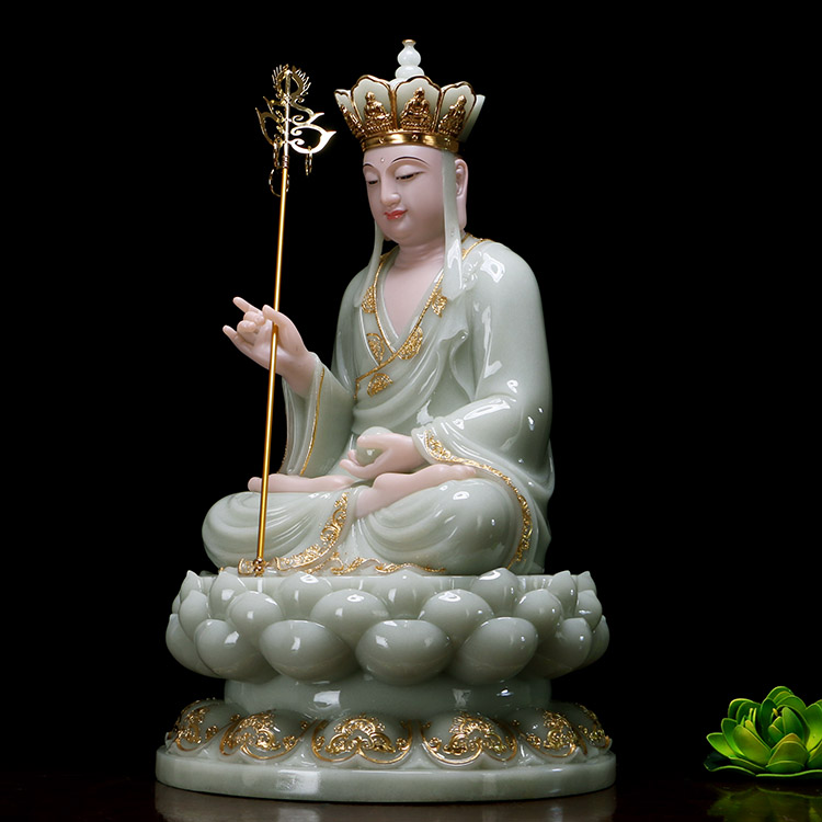 30cm large- high-grade home Asia efficacious Mascot ksitigarbha Dizang pusa Buddha Natural jade gilding carving Sculpture statue