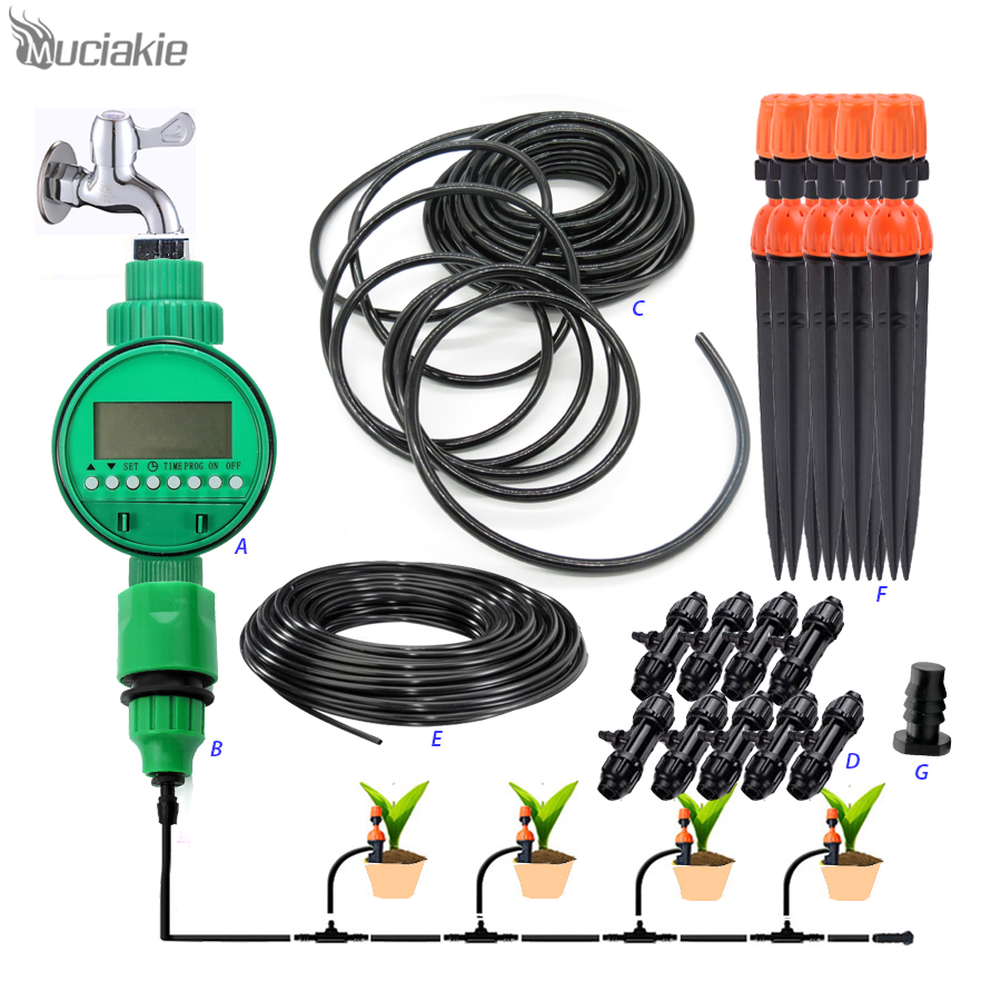 MUCIAKIE 1 LOT Garden Watering Irrigation System Include Water Timers 10m 8/11mm & 10m 4/7mm Hose 10pcs Adjustable Drippers Etc