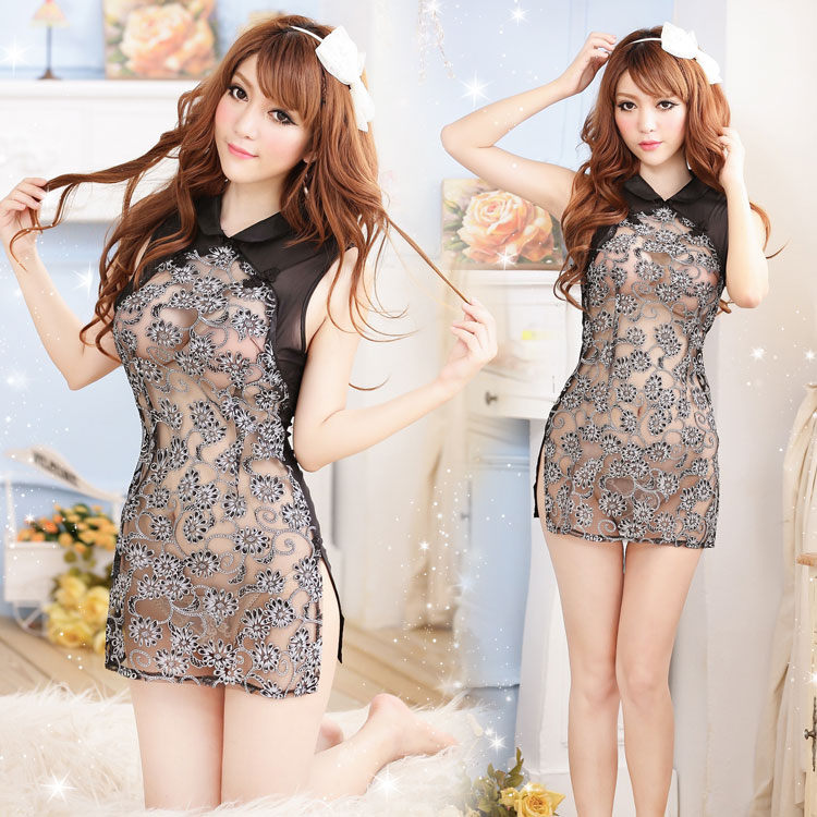 Perfect sexy lingerie open breast female classic cheongsam lace sexy underwear transparent short skirt nightgown