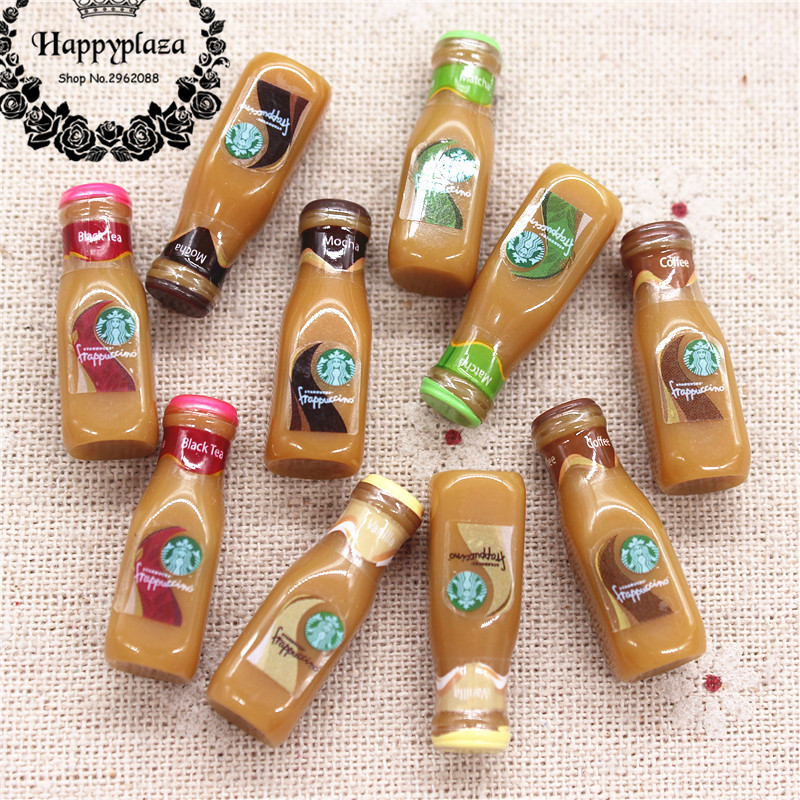 10pcs Cute Resin 3D Coffee Frappuccino Bottle Imitation Food Drink Miniature Art Supply DIY Decoration Charm Craft,9*27mm