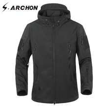 S.ARCHON Shark Skin Soft Shell Camouflage Military Jacket Men Waterproof Hooded Windbreaker Clothing Winter Tactical Army Jacket