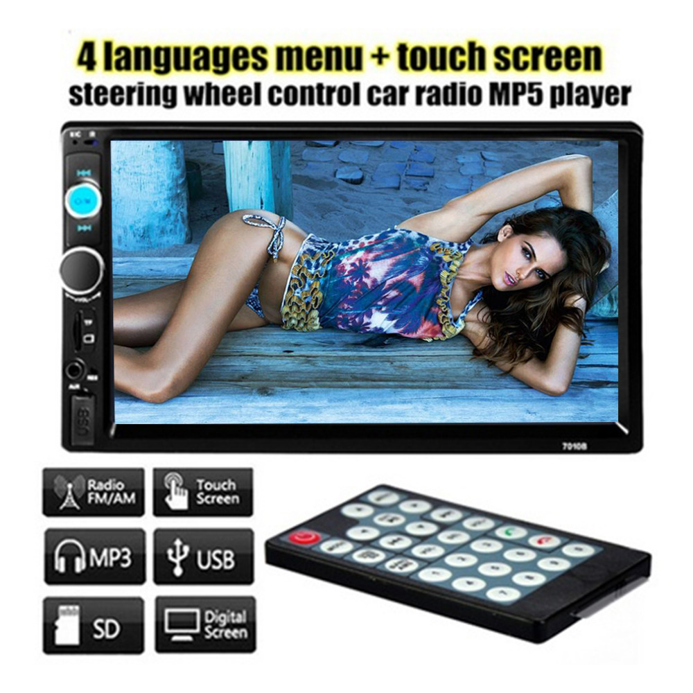 Cimiva 7 Inch 2 DIN 7010B Car Bluetooth Audio Radio In Dash Touch Screen Stereo MP3 MP5 Player 7010B USB Steering Wheel Control steering wheel control 7 inch touch screen car radio mp5 mp3 2 din car audio video usb tf auxin bluetooth backing up priority hd