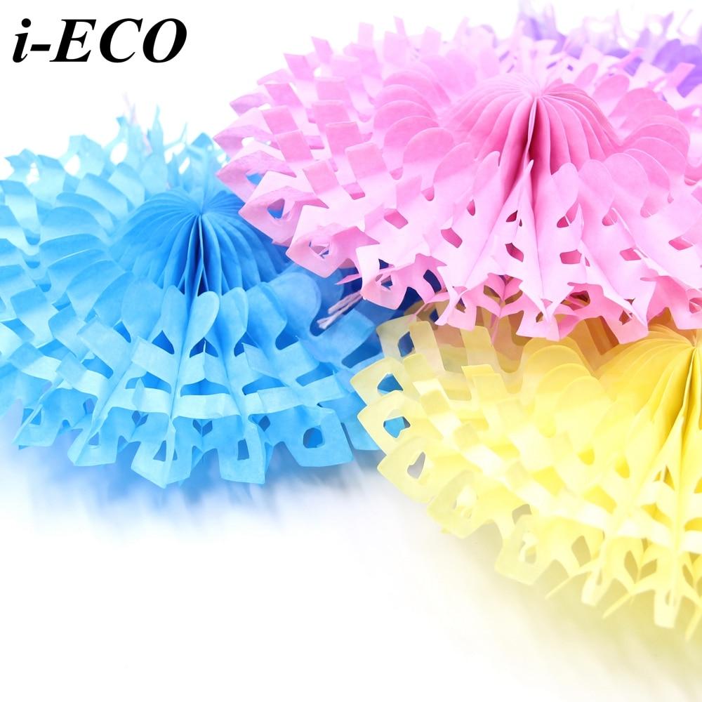 5pcs 12 Multi Color Handmade Tissue Paper Flowers Hollow Paper Fans