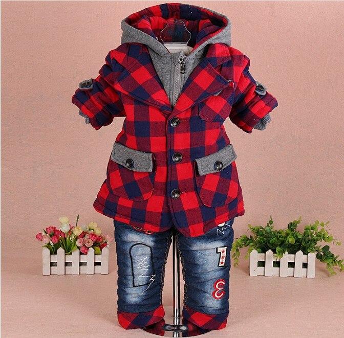 ใหม่2017ในช่วงฤดูหนาวเด็กทารกลายสก๊อตฝ้ายเบาะข้นขนแกะที่อบอุ่นภายในเสื้อผ้าชุด2ชิ้นเด็กชายเสื้อหนาวกางเกงยีนส์สูท-ใน ชุดเสื้อผ้า จาก แม่และเด็ก บน AliExpress - 11.11_สิบเอ็ด สิบเอ็ดวันคนโสด 1